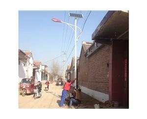 鸡泽县风筝乡新风村美丽乡村建设街道亮化工程完工 (2)